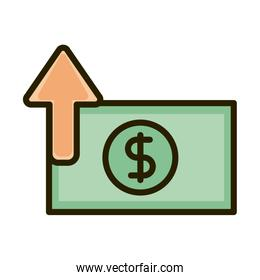 banknote money currency business financial investing line and fill icon