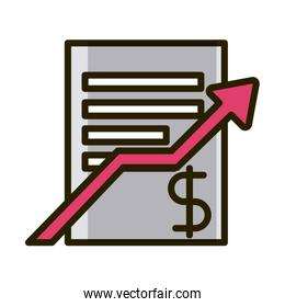 business report profit arrow financial investing line and fill icon