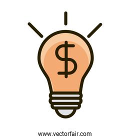 bulb light money business financial investing line and fill icon