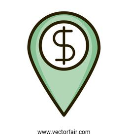 location pin money business financial investing line and fill icon