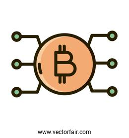 bitcoin cryptocurrency money digital business financial investing line and fill icon