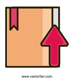 cardboard box up arrow business financial investing line and fill icon
