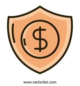 shield protection money business financial investing line and fill icon