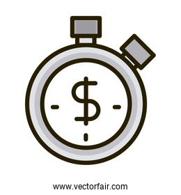 stopwatch time money business financial investing line and fill icon