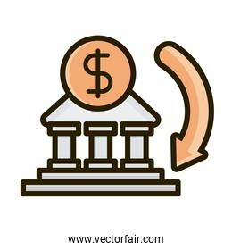 money bank transaction business financial investing line and fill icon