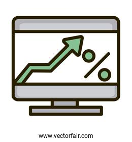 computer digital growth arrow business financial investing line and fill icon