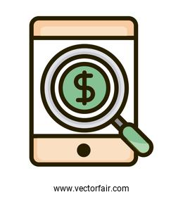 smartphone money anlaysis business financial investing line and fill icon