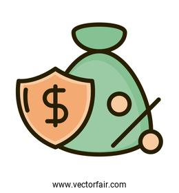 money bag shield percentage business financial investing line and fill icon