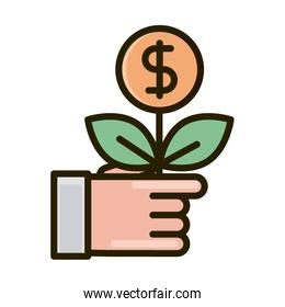 hand with plant money business financial investing line and fill icon