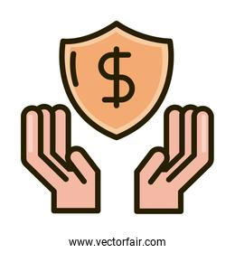 hands with shield protection money business financial investing line and fill icon
