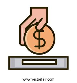 hand inserting coin business financial investing line and fill icon