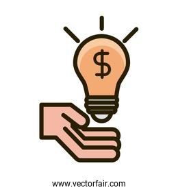 hand with money bulb creativity business financial investing line and fill icon