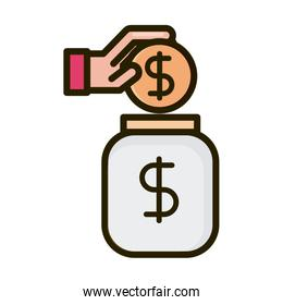 hand inserting coin in jar business financial investing line and fill icon