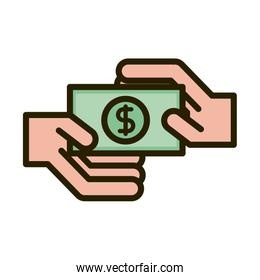 hands with money banknote business financial investing line and fill icon