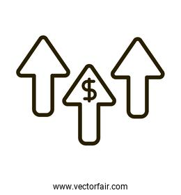 increase arrows money business financial investing line style icon