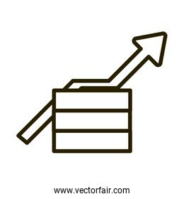 money profit arrow business financial investing line style icon