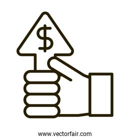 hand with profit coin money business financial investing line style icon