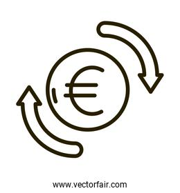 euro money exchange business financial investing line style icon