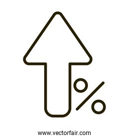 growing arrow percent money business financial investing line style icon