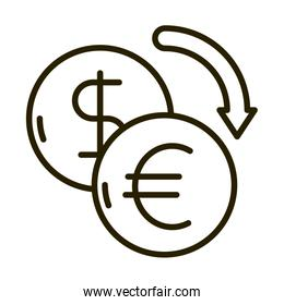 dollar and euro exchange business financial investing line style icon