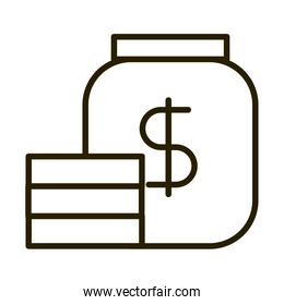 jar with stack coins business financial investing line style icon