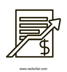 business report profit arrow financial investing line style icon