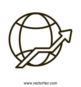 world growth arrow business financial investing line style icon