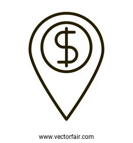 location pin money business financial investing line style icon