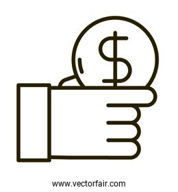hand with coin money business financial investing line style icon