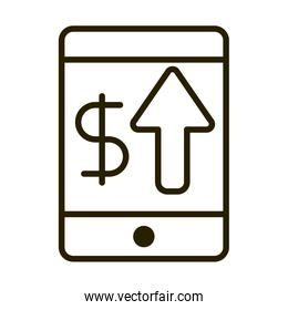 smartphone money up arrow business financial investing line style icon