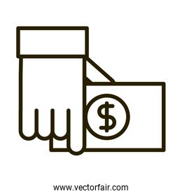 hand with banknote money business financial investing line style icon