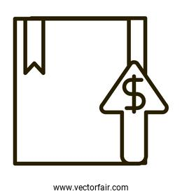 cardboard box up arrow business financial investing line style icon