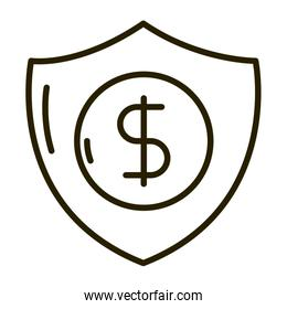 shield protection money business financial investing line style icon