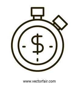 stopwatch time money business financial investing line style icon