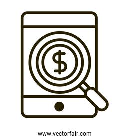 smartphone money anlaysis business financial investing line style icon