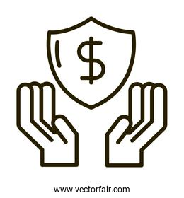 hands with shield protection money business financial investing line style icon