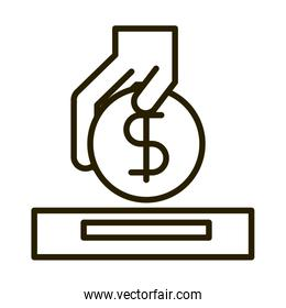 hand inserting coin business financial investing line style icon
