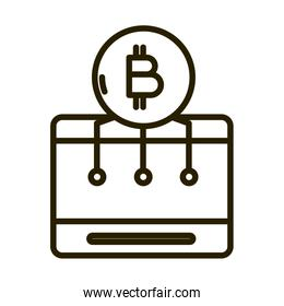 tablet computer bitcoin cryptocurrency business financial investing line style icon