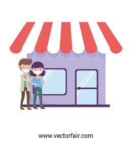 Man and woman with mask in front of store vector design
