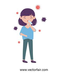 Woman with dry cough and covid 19 virus vector design