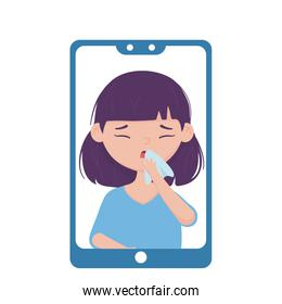 Woman with dry cough inside smartphone vector design