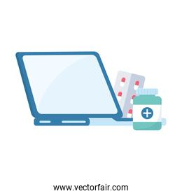 Isolated medicine jar laptop and pills vector design
