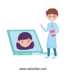Isolated man doctor woman and laptop vector design