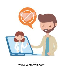Isolated woman doctor man and laptop vector design