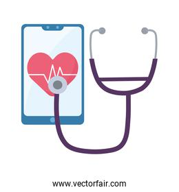 Heart pulse inside smartphone and stethoscope vector design
