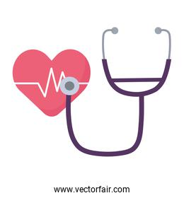 Isolated heart pulse and stethoscope vector design