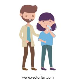 Woman with dry cough and man vector design