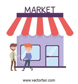 Isolated market store and men vector design