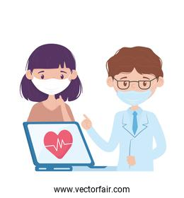 Isolated man doctor and woman with mask vector design