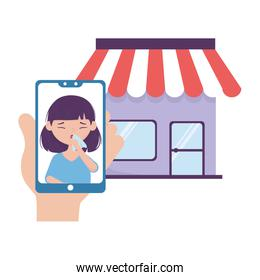 Woman with dry cough inside smartphone and store vector design